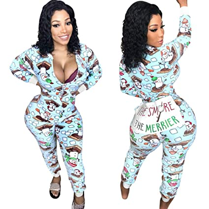 9f448ee3d8 Image Unavailable. Image not available for. Color  Fashion Women Long  Sleeve Christmas Zipper Jumpsuit Onesie Pajamas Funny ...