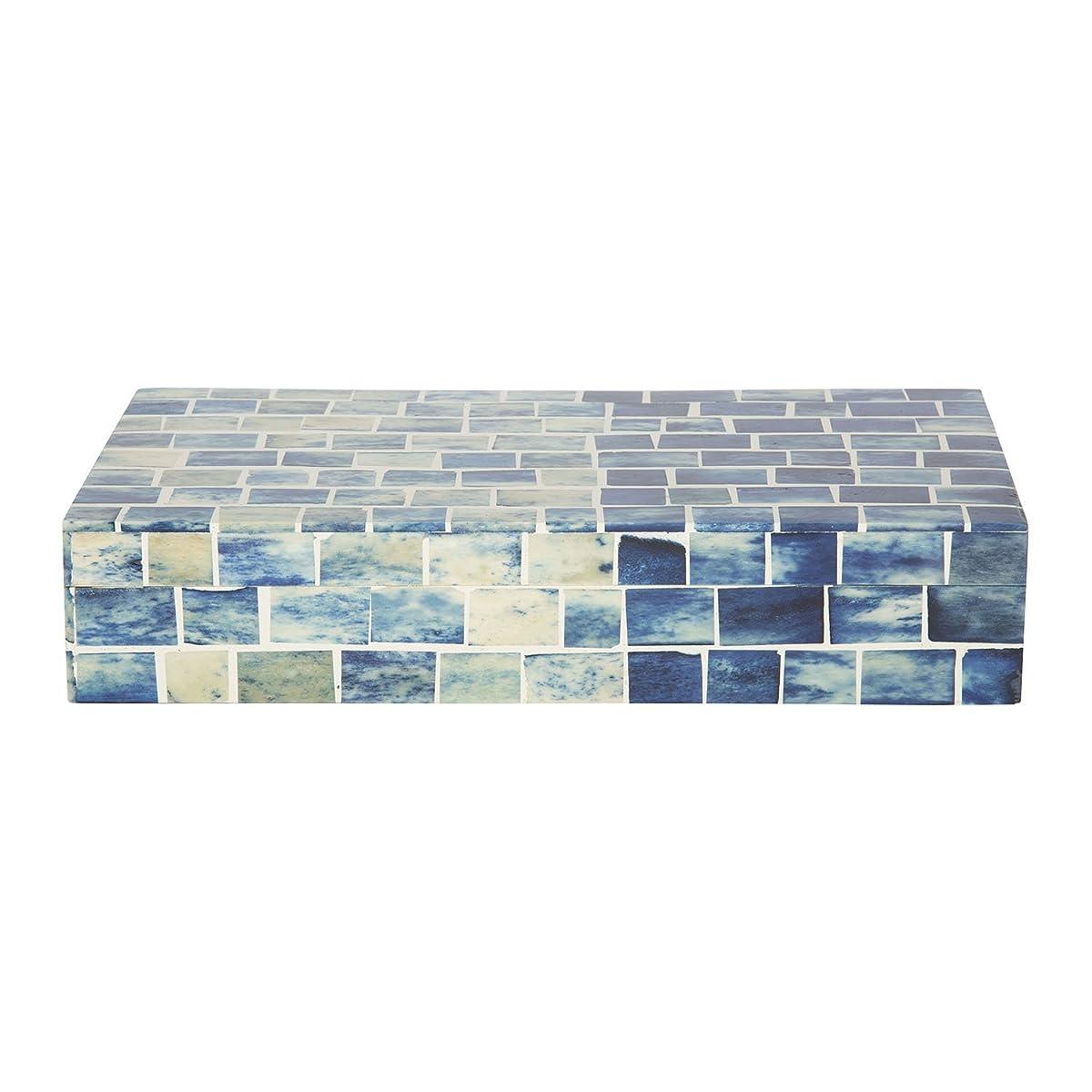 Indigo Mosaic Keepsake Decorative Jewelry Storage Organizer Box Handmade from Hanidcrafts Home Size 10x5x2 inches