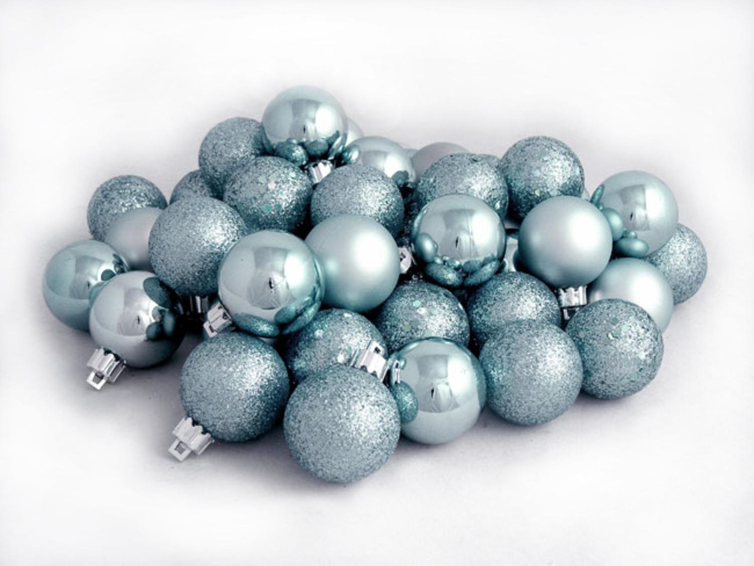 amazoncom northlight 60 count baby blue shatterproof 4 finish christmas ball ornaments 25 home kitchen - Light Blue Christmas Ornaments