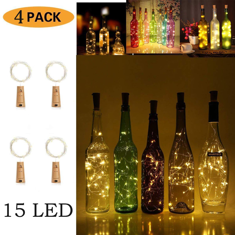 Party Wedding or Mood Lights LT015C*4 JOJOO 4Pcs Colour Changing RGB Wine Bottle Cork Copper Lights Halloween 32inch// 80cm 15 LED Wire String Lights for Bottle DIY Christmas Decor