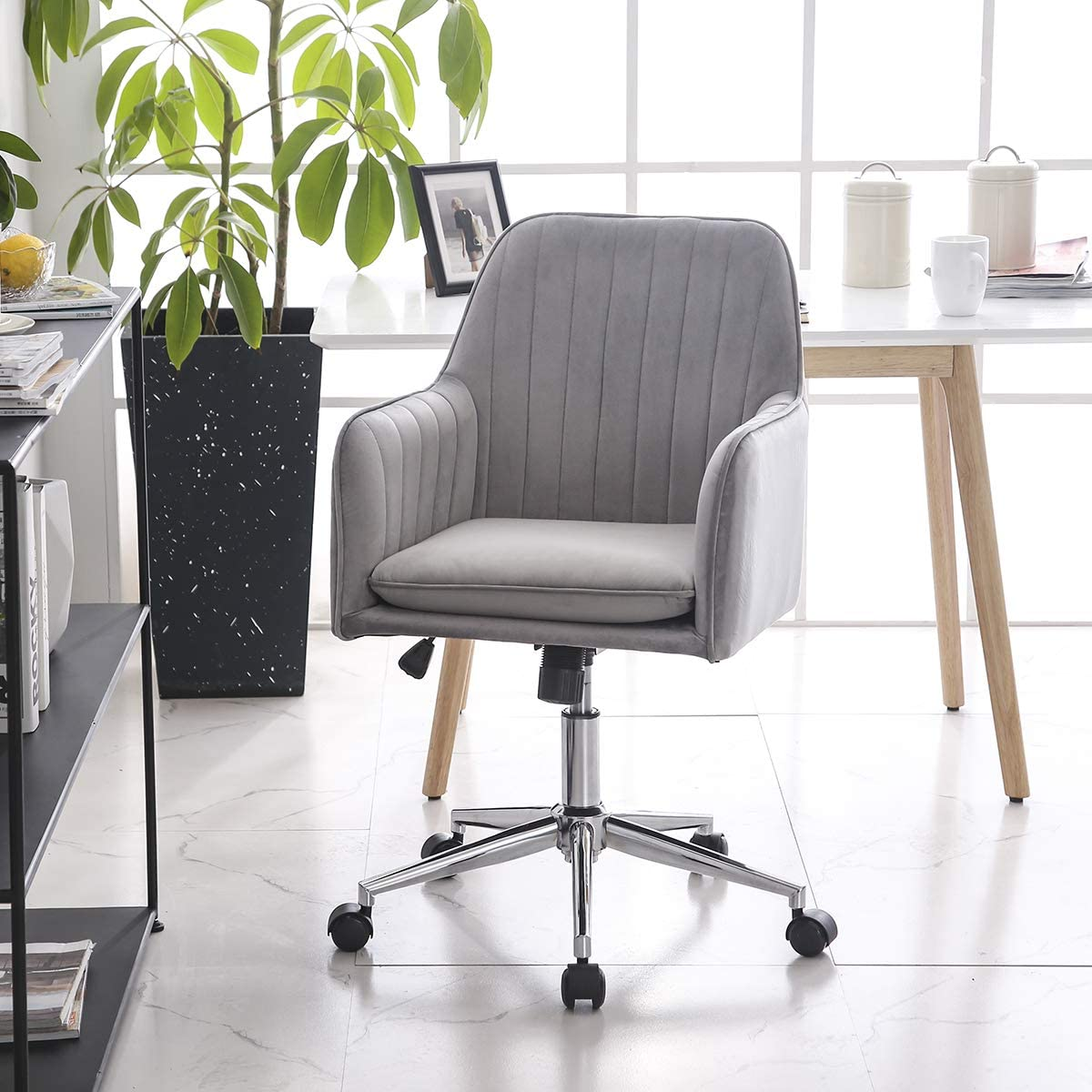 Hironpal Modern Velvet Office Chair Armchair Office Living Room Bedroom  Accent Chair Ergonomics With Wheels Adjustable Rotary Lifter (Grey)