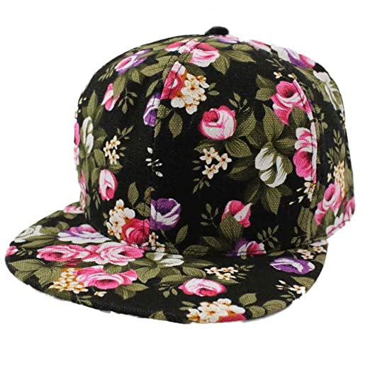b4abe3dc Amazon.com: WYTong Women's Floral Flower Snapback Hip-Hop Cap Baseball Cap  Hat Headwear (Black): Clothing
