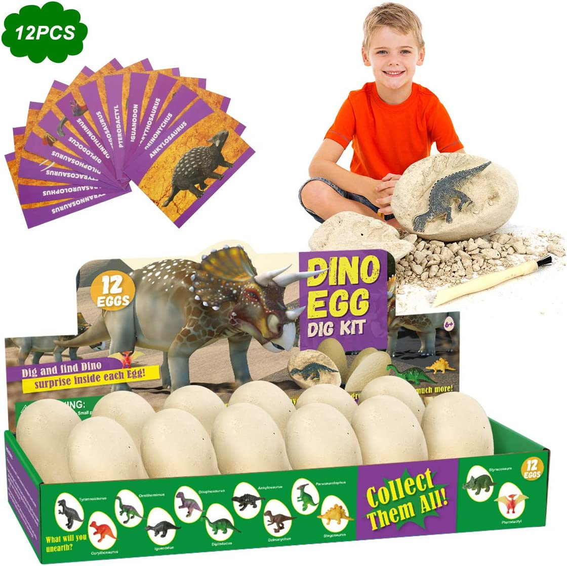 E-More Huevos de Dinosaurio de Kit de Excavación Paquete de 12, Descubre 12 Dinosaurios Diferentes, Fiesta de Pascua de Juguete Stem Juguetes Educativos para Niños de 6+ Años Regalo de Niños Niñas