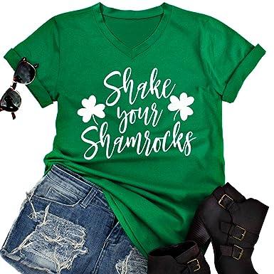ee25c98d4d8 Amazon.com  Shake Your Shamrocks Funny St. Patrick s Day Irish T-Shirt  Women V-Neck Letter Print Cute Shamrock Shirt Tee Tops  Clothing