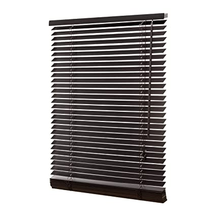 Persiana de madera auténtica, de 35 mm, de color marrón oscuro, incluye el juego de montaje; ...