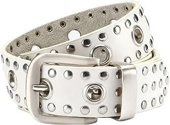 Eg-Fashion Nieten-Jeansgürtel Herren 3,8 cm Breite PU mit Leder in Spitzenqualität- Individuell kürzbar (Bundweite: 110cm = Gesamtlänge: 125cm, Weiß)