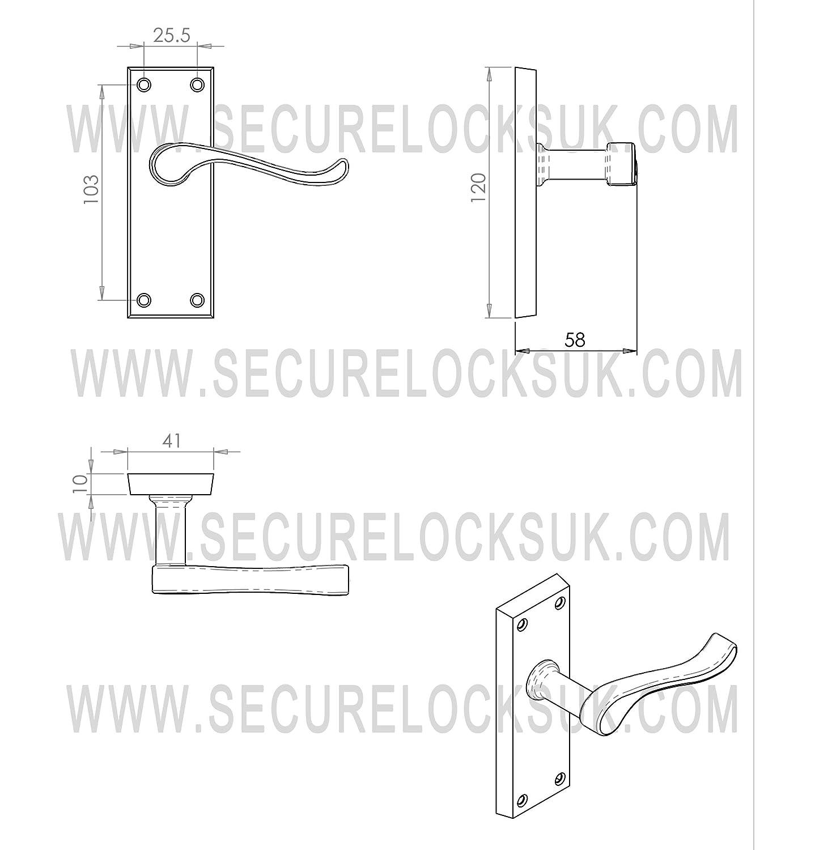 lat/ón, estilo victoriano Carlisle Brass Juego de 6 manijas y cerrojos para puertas