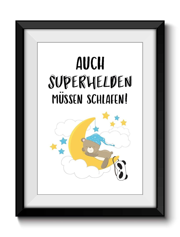 Kunstdruck Print DIN A4 SUPERHELD SCHLAFEN 2 ohne Rahmen Dekoration ...