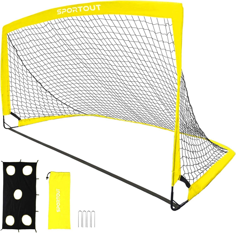 "Sportout Portable Soccer Goal, Training Soccer Net for Backyard, Garden, Indoor, Outdoor, Training, Practice Goals(6'3""x 3'7"", 1 Pack)"