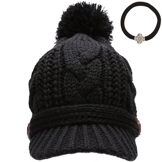 MIRMARU Women s Thick Cable Knitted Skully Beanie Visor Cap Button Pom Pom  with Scrunchy (Black 01bb49d4741