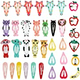 Lictin 36pcs Cartoon Clips Cute Hair Clips Girl Hair Clips Metal Snap Barrettes Multiple Style Little Hairpin Hair Accessories for Toddlers Kids Girls Multicoloured(M)
