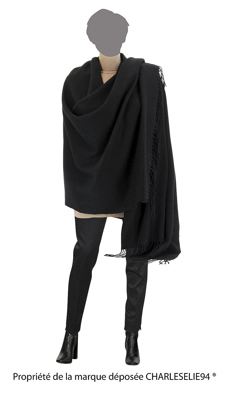 991d1331ef61 Charleselie94® Etole Châle Laine Echarpe Cachemire Poncho Hiver Noir -  Stella - Femme