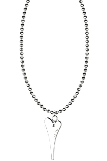 Miss Dee long 70cm Thin twisted necklace chain with a large solid heart shaped pendant VdDkZQqij