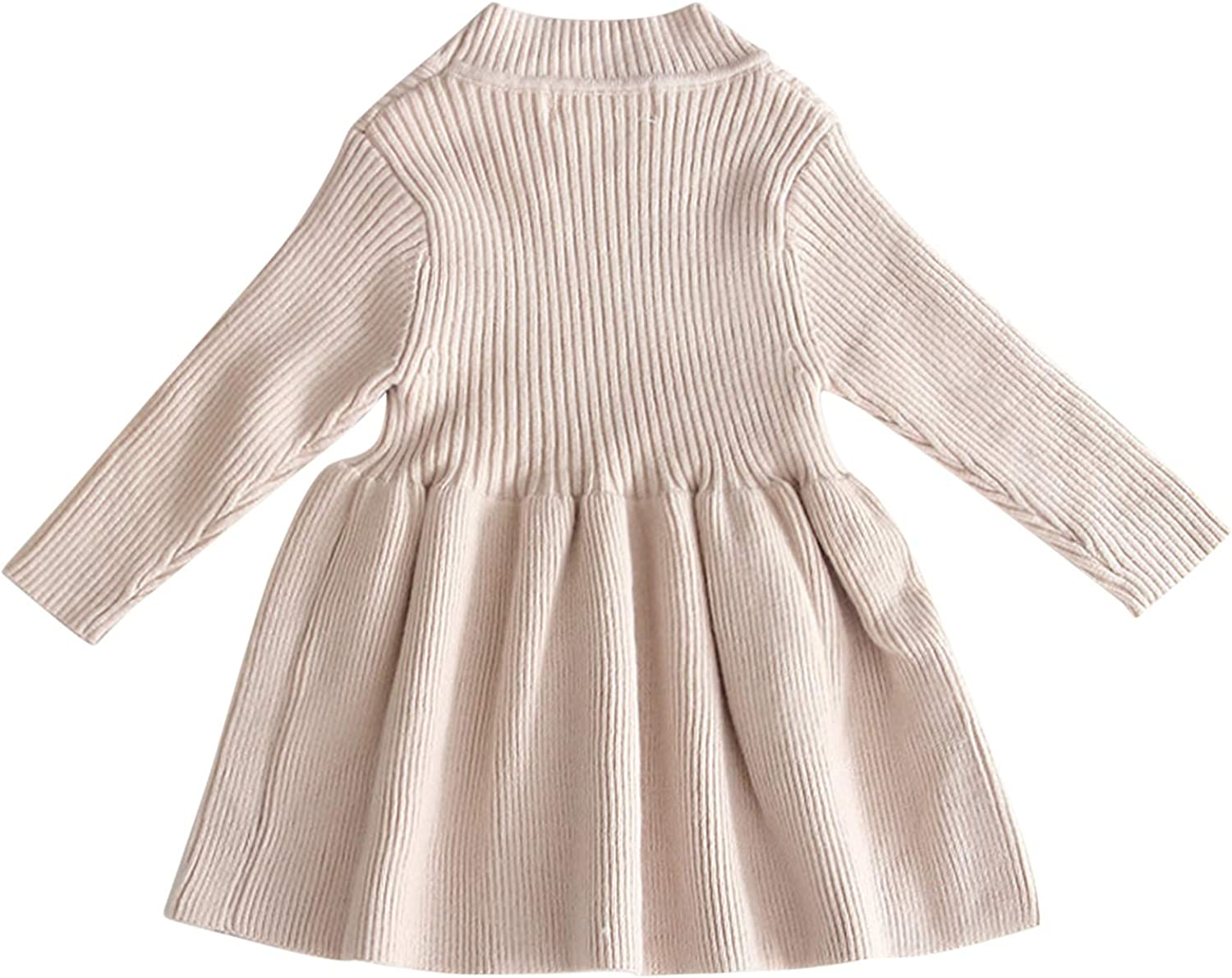 De feuilles Kids Baby Girl Long Sleeve Sweater Dress Solid Color Ruffle Ribbed Knit One Piece Dress Warm Outfits