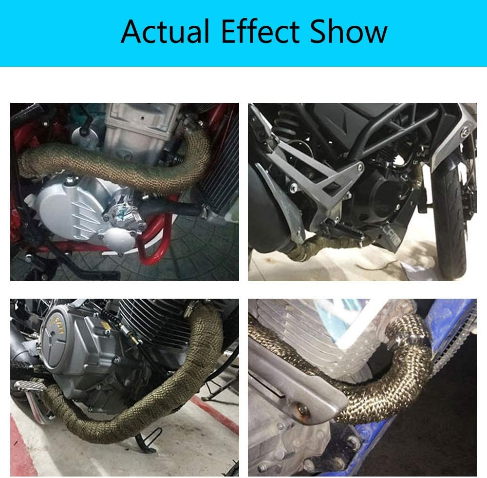 Mintice 5CM X 5M Titanium Lava Exhaust Header Pipe Heat Wrap Stainless Ties Kit Car