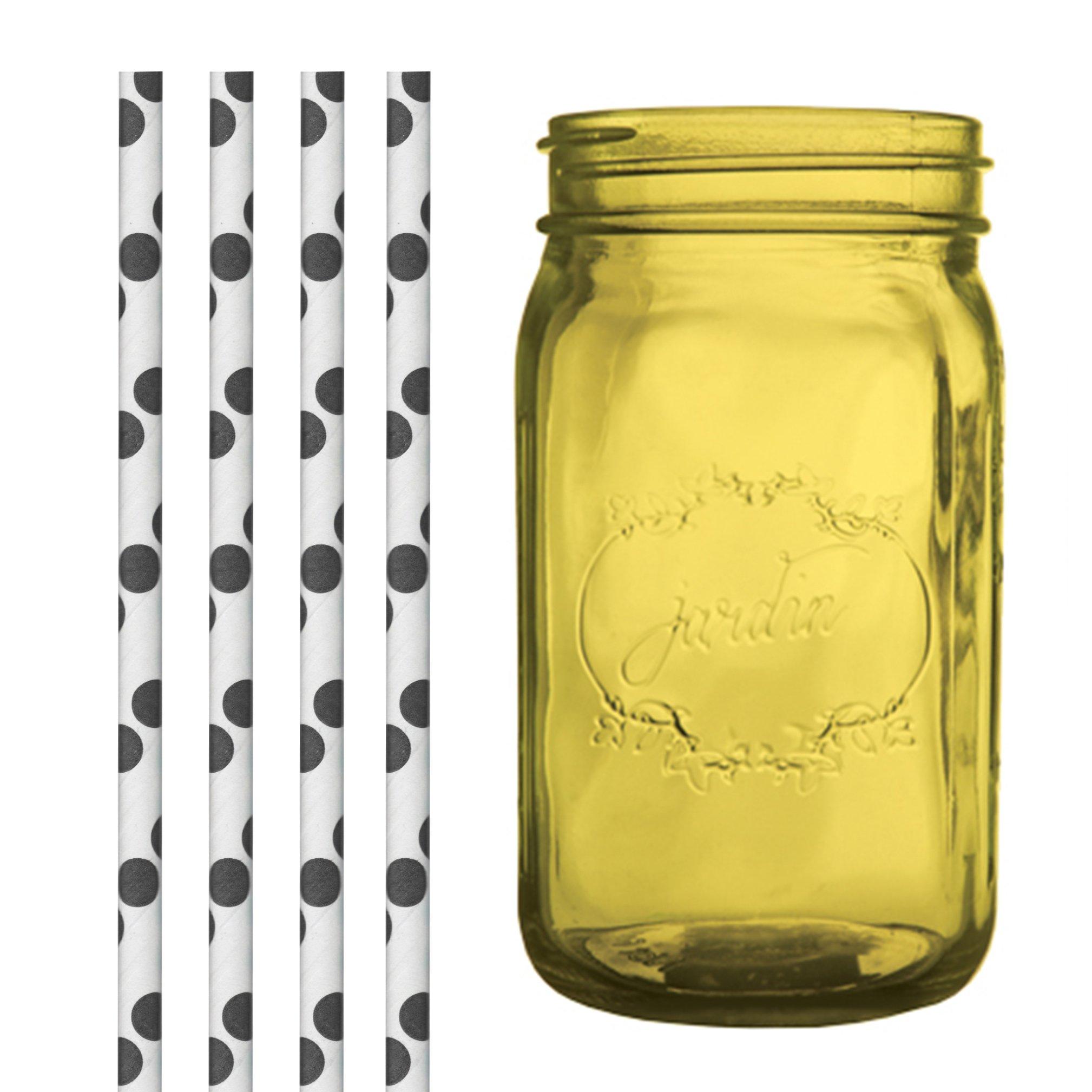 Dress My Cupcake DMC35228 Amber Yellow Vintage Jardin Mason Jar with Black Polka Dot Straws, 32-Ounce