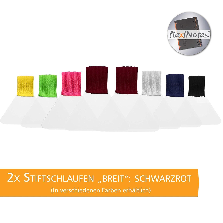 flexiNotes STIFTSCHLAUFE, 2x Stifthalter selbstklebend, Typ: Breit, Schwarzrot Schaar-Design
