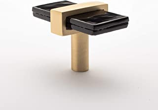 product image for Sietto K-1903-SB Sietto K-1903 Adjustable 2 Inch Long Rectangular Cabinet Knob with Black Glass