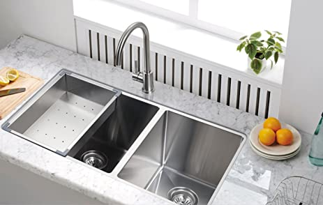 Medium image of starstar undermount 304 stainless steel double bowl kitchen sink with accessories  60 40