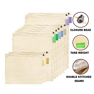 purifyou Premium Reusable Mesh/Produce Bags, Set of 9 | Raw, Organic, Unbleached Cotton | Double-Stitched, with Tare Weight on Tags | Large, Medium & Small