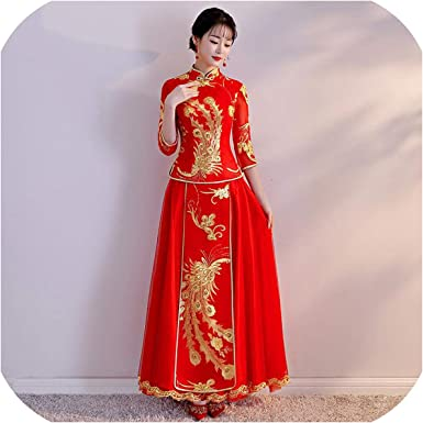 Amazon Com Traditional Chinese Wedding Dress Oriental Lady Red Embroidery Qipao Vestidos Vintage Asian Red 2 L Clothing