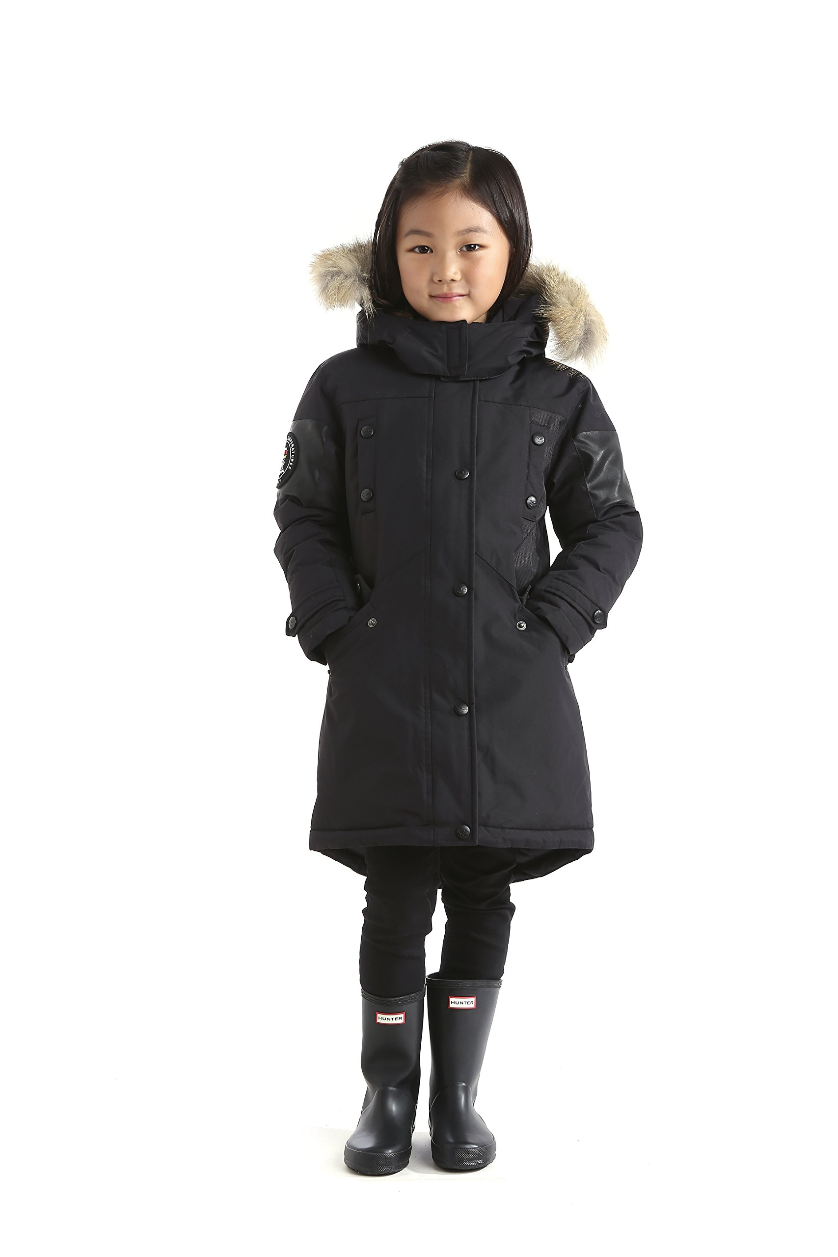 Triple F.A.T. Goose Embree Girls Down Jacket Parka with Real Coyote Fur (10, Black) by Triple F.A.T. Goose (Image #6)