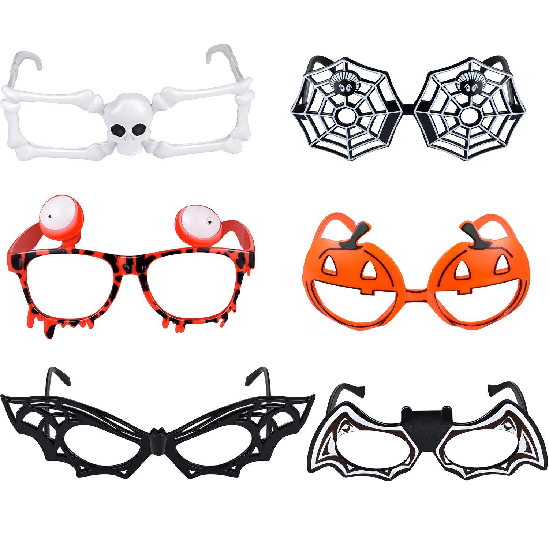 6 Stili 6 Pezzi Occhiali di Halloween Occhiali Divertenti Forma di Scheletro di Pipistrello di Zucca Pipistrello Occhiali da Festa per Costume di Halloween Prop Decorazioni