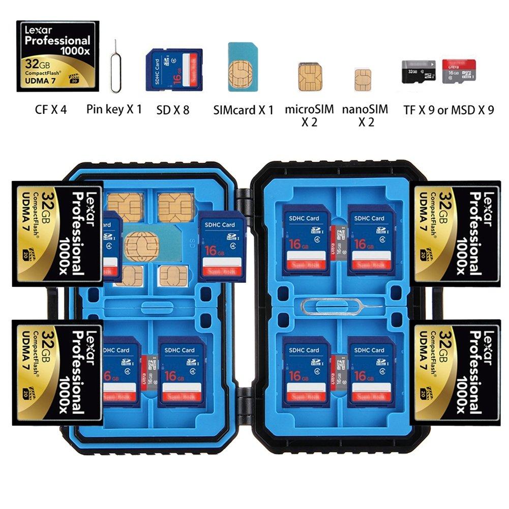 メモリカード携帯ケース、Turpro 27スロット防水耐衝撃ストレージプロテクターカードボックスカードホルダーfor SD / MSD / Micro Sim / Nano Sim / TFカード ブラック EAC0861-FBA B076BN39HR 27 Slots 27 Slots