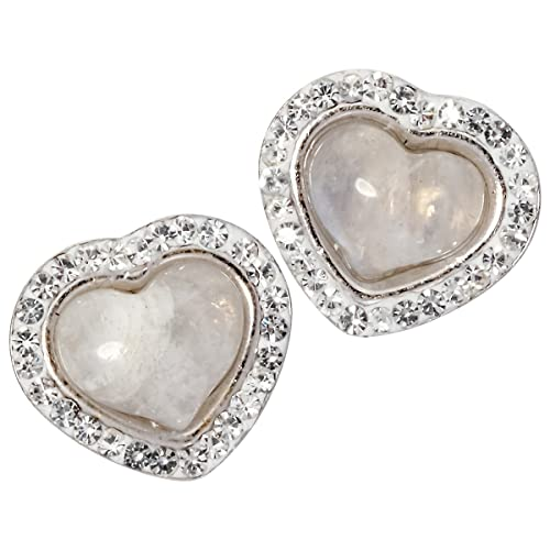 YACQ 925 Sterling Silver Natural Gemstone Valentines Day Heart Shaped Birthstone Stud Earrings