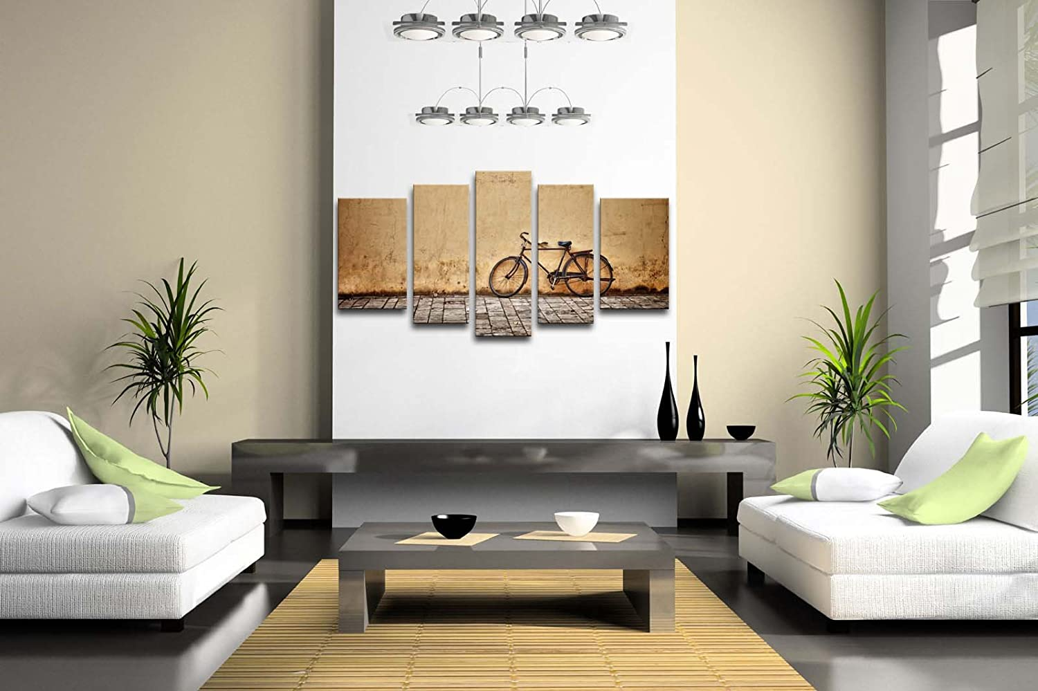 Amazon.com: 5 Panel Wall Art Old Rusty Vintage Bicycle Near The Wall  Painting Pictures Print On Canvas Architecture The Picture For Home Modern  Decoration ...