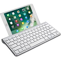 OMOTON Wireless Deutsche Bluetooth Tastatur / Keyboard (ultraschlanke) für alles Apple iPad Air, iPad Pro,iPad Mini,iPhone xs/x,iPhone 8 / 7 /6s Plus,und andere iOS Gerät,QWERTZ, mit Halterung