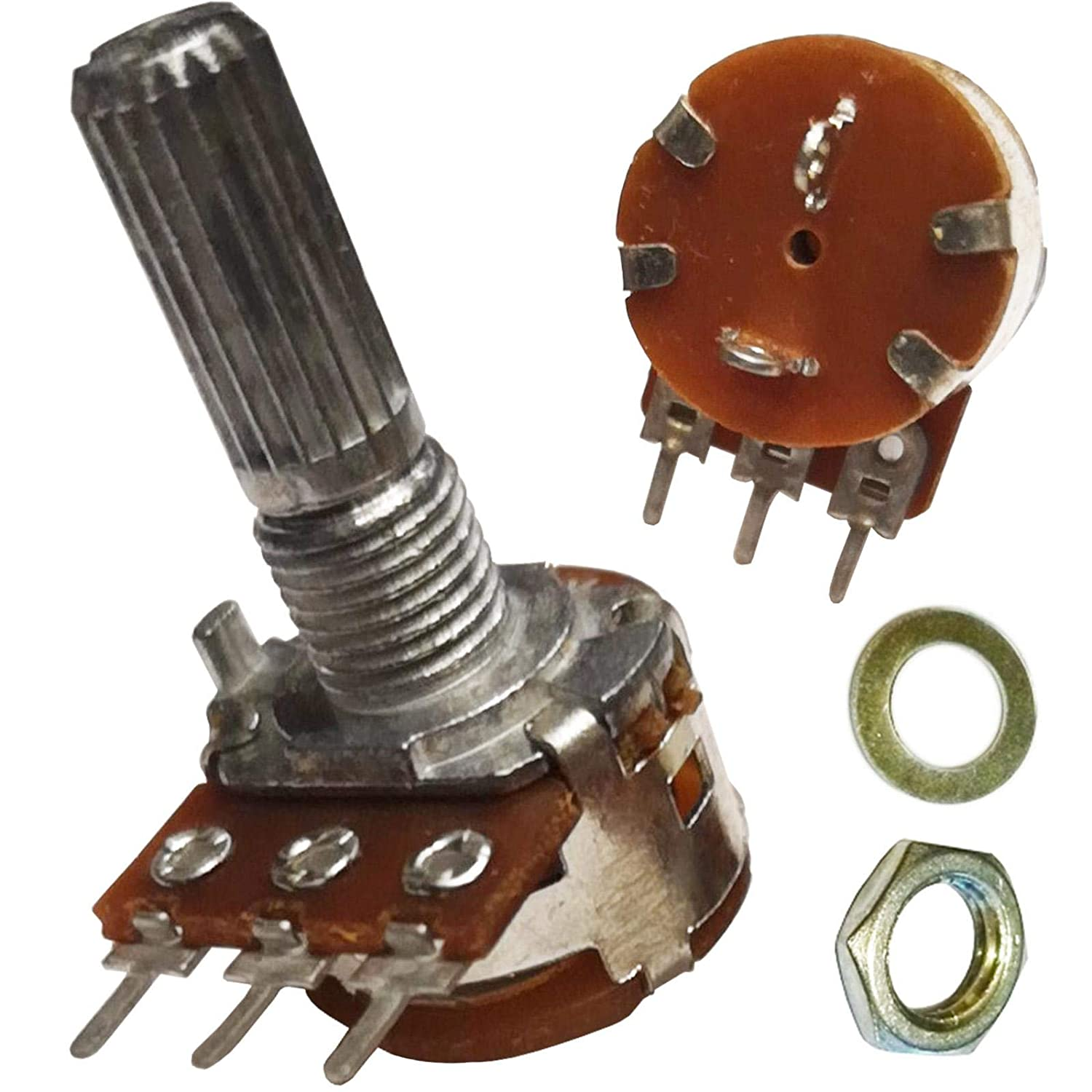 A100K ohm with SPST Switch 100K ohm A104 Single Mono Logarithmic Log Knurled Splined Shaft Rotary Potentiometer Pot Shaft:20mm Unbranded/Generic