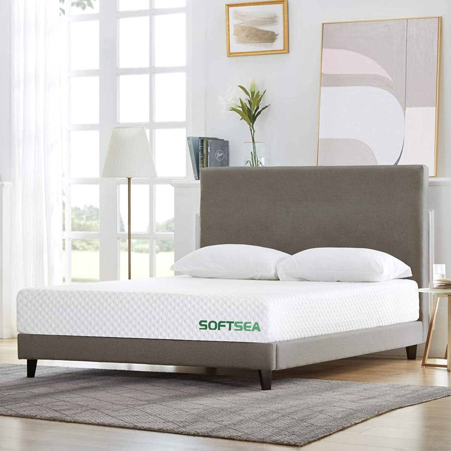 Twin Size Mattress, SOFTSEA 8 inch Cooling-Gel Memory Foam Mattress in a Box for a Medium Comfort, Breathable Bed Mattress with CertiPUR-US Certified Foam, No Set-up, Easy Assembly, 10 Year Warranty