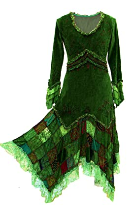 Dreams Dark Kleid Goa Witchy Steampunk Pixie Gothic Pagan Elfe Samt AjLc3qS4R5