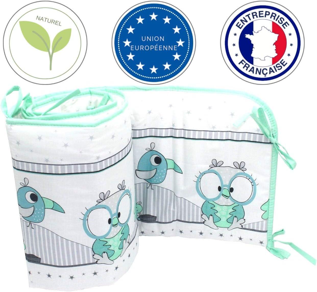 Callyna /® gigoteuse Set lit b/éb/é 3 pcs Tour de lit Pour coton sans colorant chimique 100/% Union Europ/éenne Chouette Vert Menthe Gris drap housse