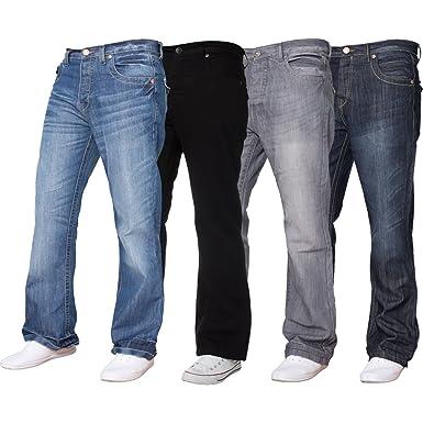 1f088d8c0b7 APT Mens Designer Basic Bootcut Flared Wide Leg Blue Denim Jeans - Range of  Waist  Amazon.co.uk  Clothing