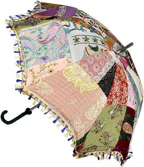Funda mini Parasol Paraguas algodón patchwork, bodas y fiestas Sombrilla 61 x 71 cm: Amazon.es: Hogar