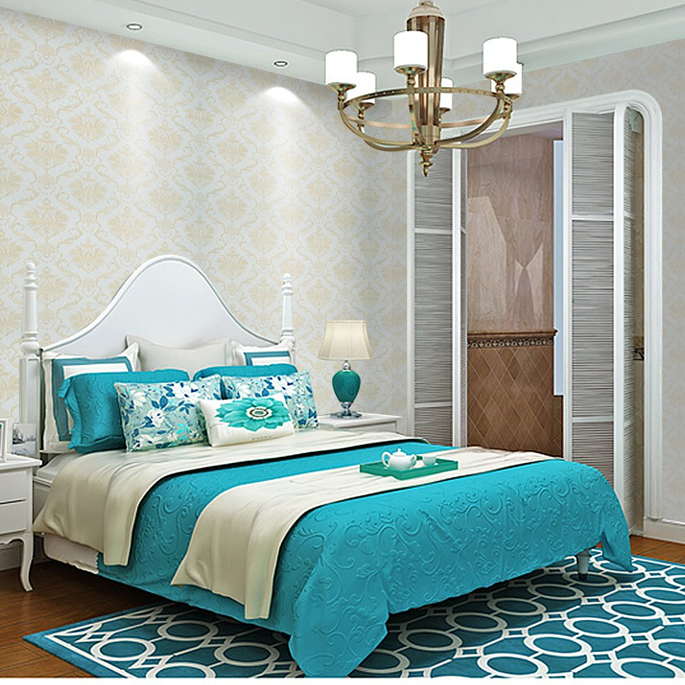 Wopeite Damask European Vintage Luxury Wallpaper Gold Embossed Textured Paper Non-Woven Home Decor for Living Room Bedroom TV Backdrop light Blue by Wopeite (Image #3)