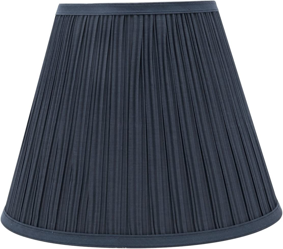 "Aspen Creative 33051 Transitional Pleated Empire Shaped Spider Construction Lamp Shade in Dark Blue, 13"" Wide (7"" x 13"" x 10"")"