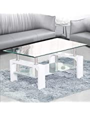 TUKAILAI Rectangle Clear Glass Coffee Table Modern Side Table with Lower Shelf Chrome and MDF Support Living room Guest Reception Room Table (White)