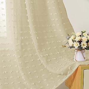 Joywell Sheer Curtains 63 Inch Length,Grommet Pompom Semi Voile Drapes Gauze Semi Sheer Window Treatment Decor for Living Room Kids Girls Nursery Bedroom, 2 Panels,Taupe
