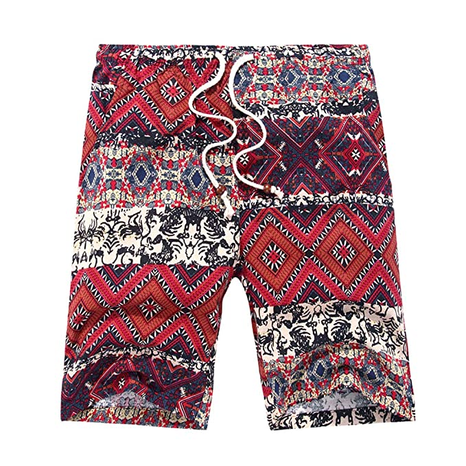 TT Global Bohemia Estilo Lino Pantalon Corto para Hombre, Hombre Verano Casual Pantalones Cortos De