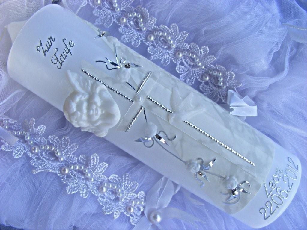 Cierge de baptême fille 250/70mm VT DE 08avec accessoires pour personnalisables kerzenzauber-lusine