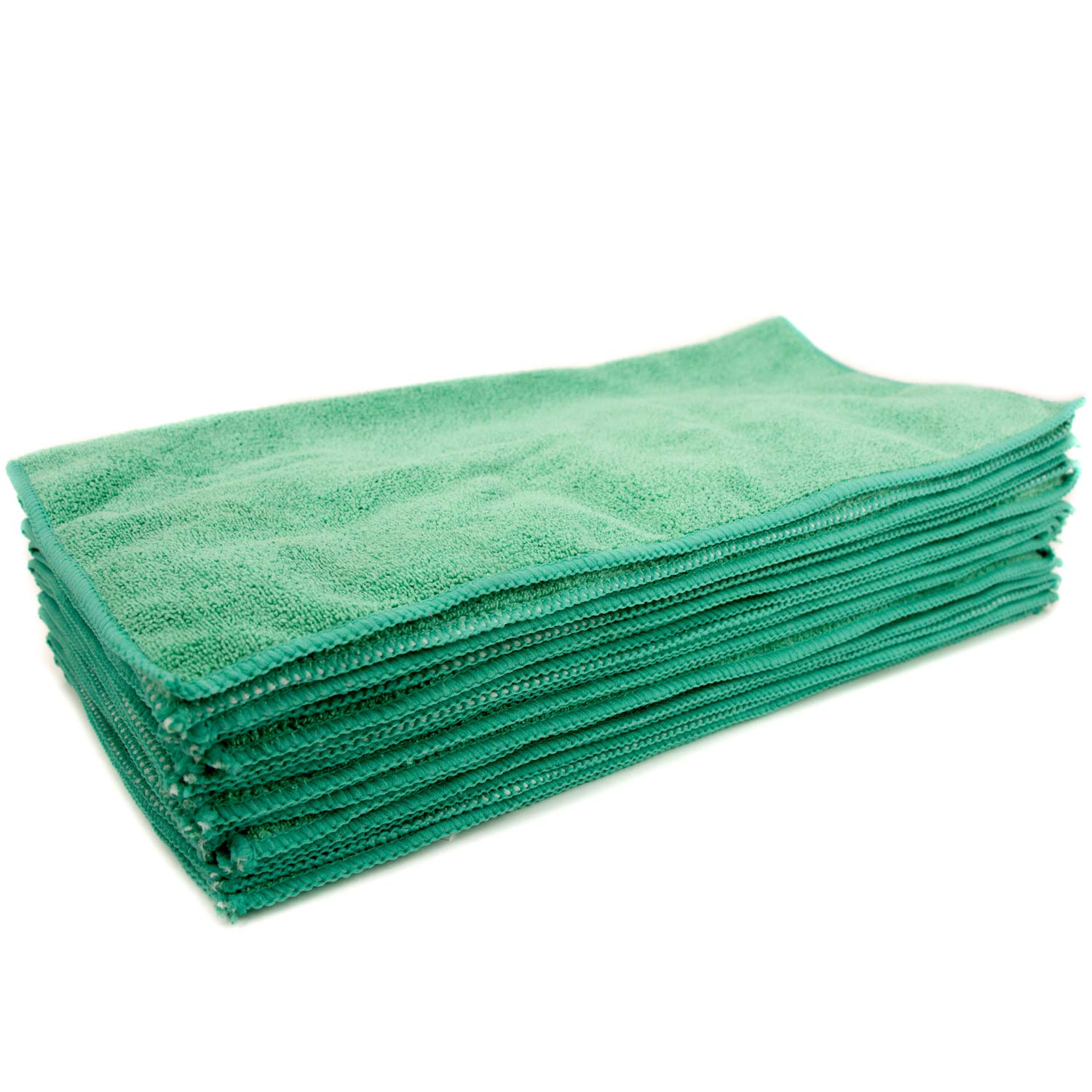 Zwipes Professional Microfiber Cleaning Cloth Towels Green Offices and more Counter Tops Window Cleaner Shop Towels 12-Pack 16x16 inch Towel Set Premium Cleaning Supplies for Car Wash