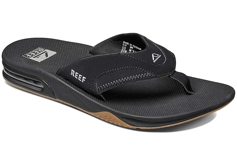 Reef Mens Sandals Fanning Bottle Opener Flip Flops for Men with Arch Support