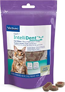 C.E.T. Intellident Cat Bites by Virbac| Dental Care Cat Treats for Healthy Teeth and Gums, Fresh Breath | Chicken Flavor | 90 per Bag