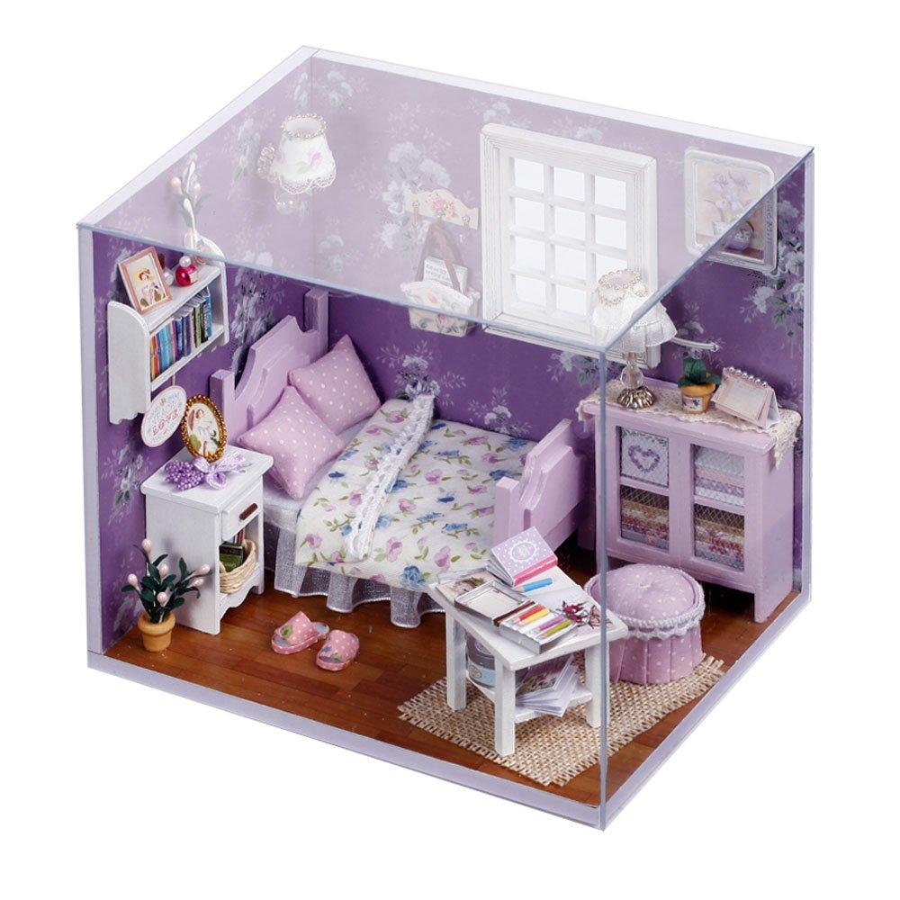 Amazon cuteroom dollhouse miniature diy kit with cover and led amazon cuteroom dollhouse miniature diy kit with cover and led wood toy doll house room toys games solutioingenieria Images