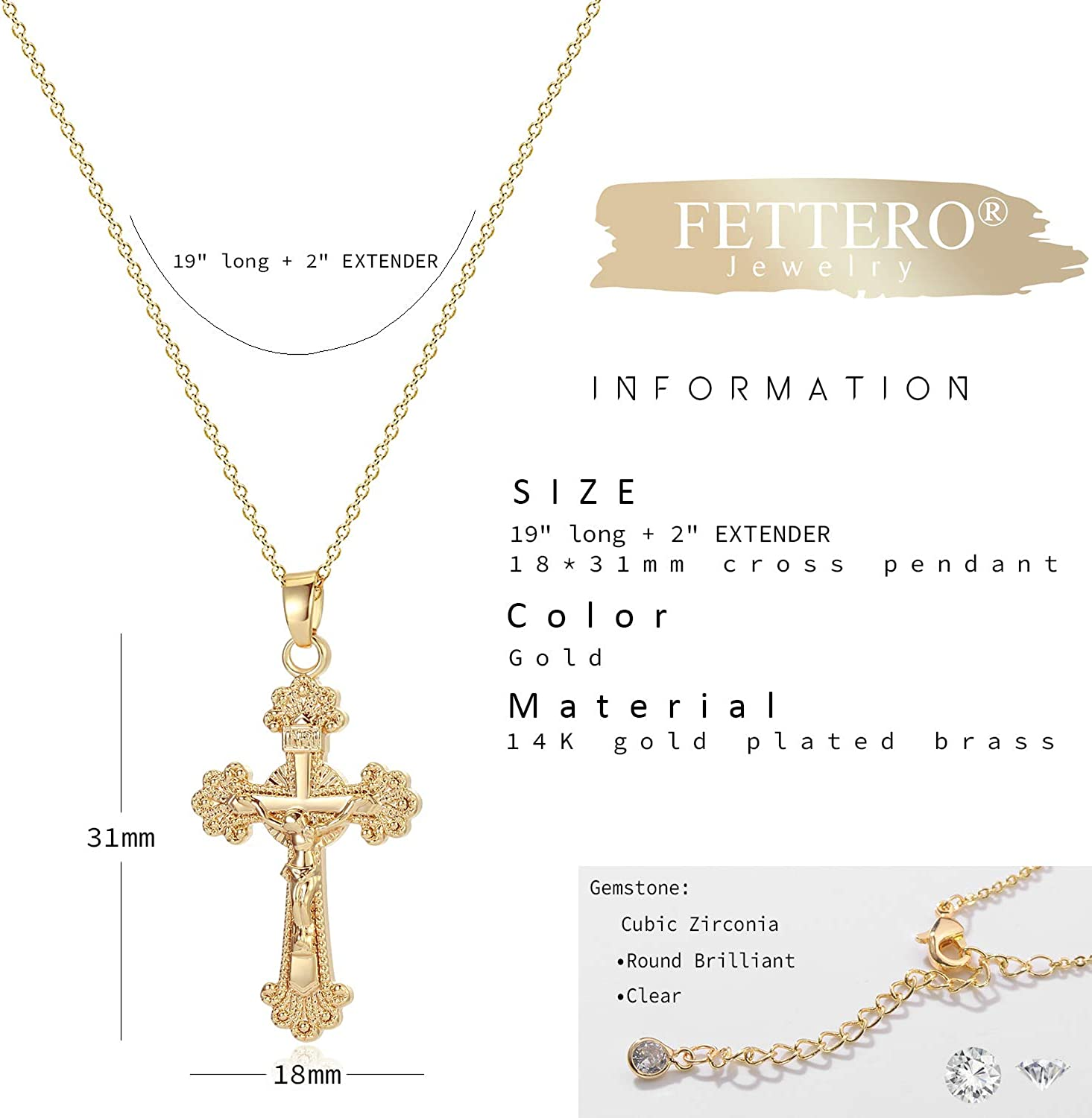 Gold Filled Crucifix Necklace Thick Chain Choker Gold Crucifix Choker Charm Large Curb Chain Chokers Women Jewelry Gift Best Seller
