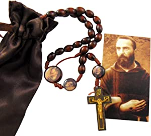 St Pio Devotional Wooden Bead Cord Rosary Gift Set with Saint Prayer Card and Bag