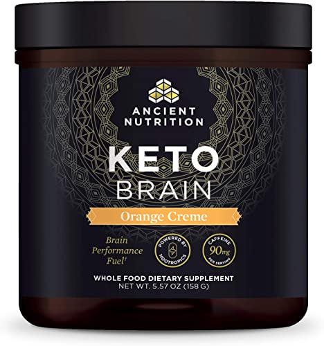 Ancient Nutrition KetoBRAIN Powder – Orange Cream, Specially Selected Botanicals to Boost Mental Focus, 20 Servings